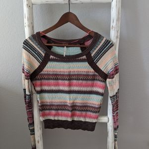 Free People striped scooped neck sweater